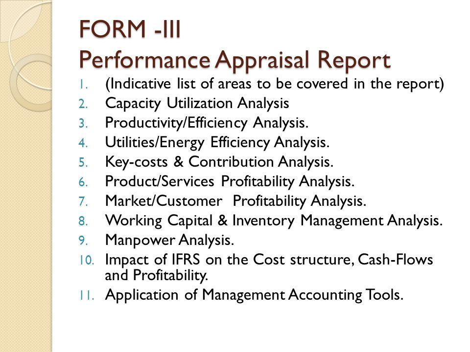 FORM -III Performance Appraisal Report