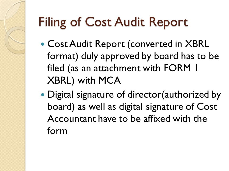 Filing of Cost Audit Report