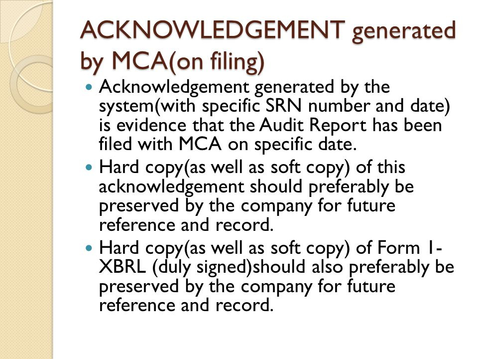 ACKNOWLEDGEMENT generated by MCA(on filing)