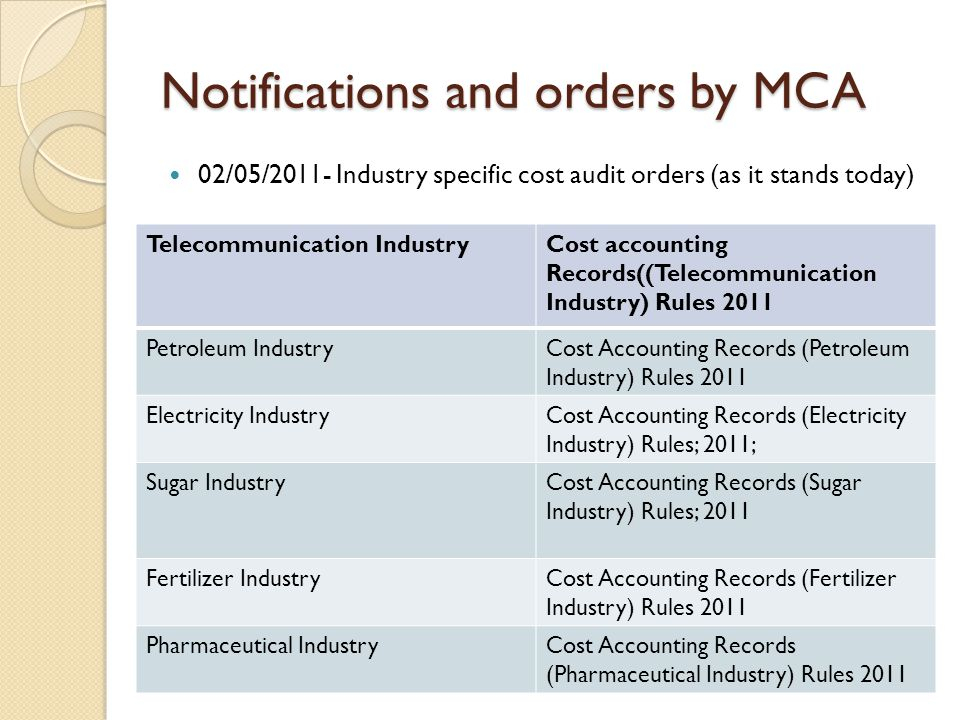 Notifications and orders by MCA