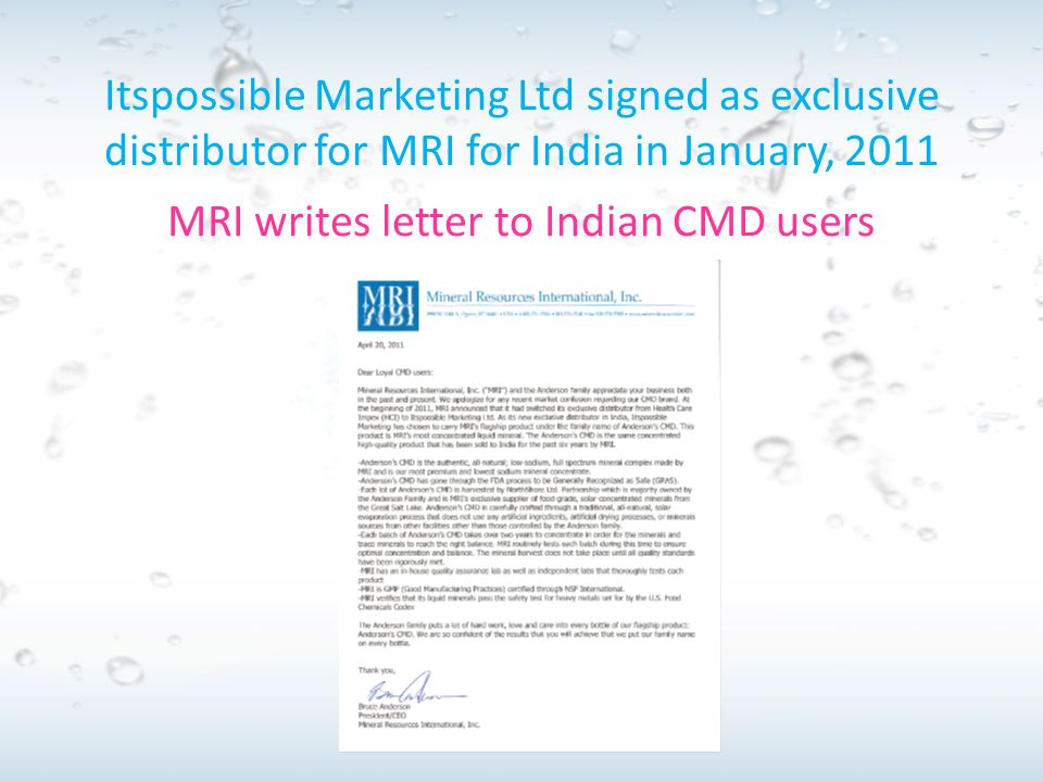 MRI writes letter to Indian CMD users