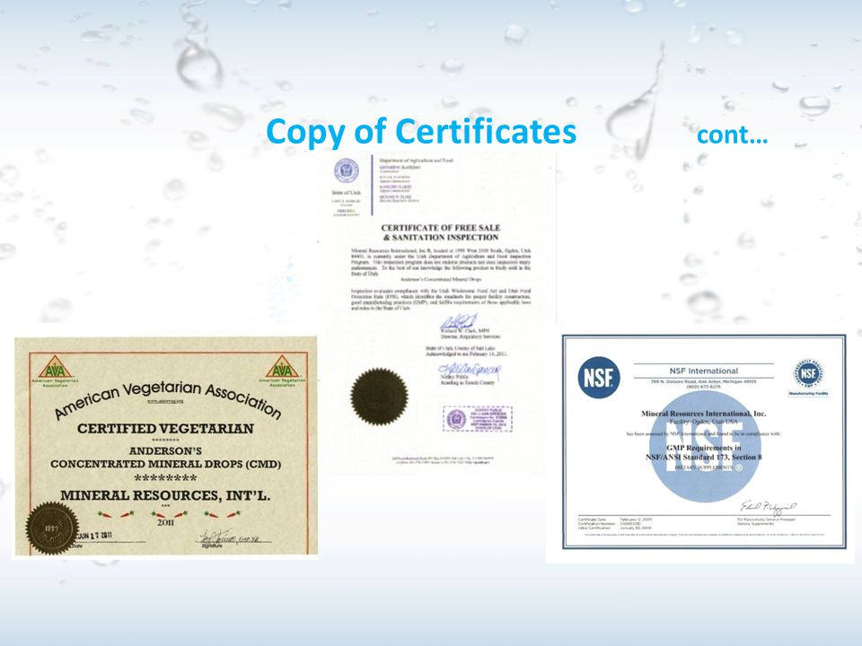 Copy of Certificates cont…