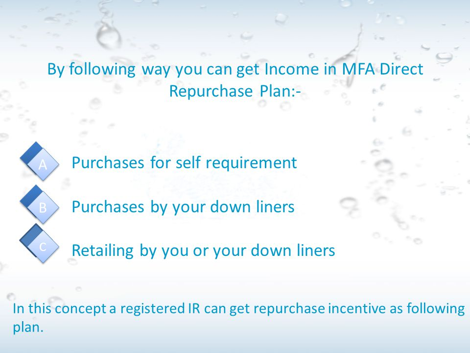 By following way you can get Income in MFA Direct Repurchase Plan:-