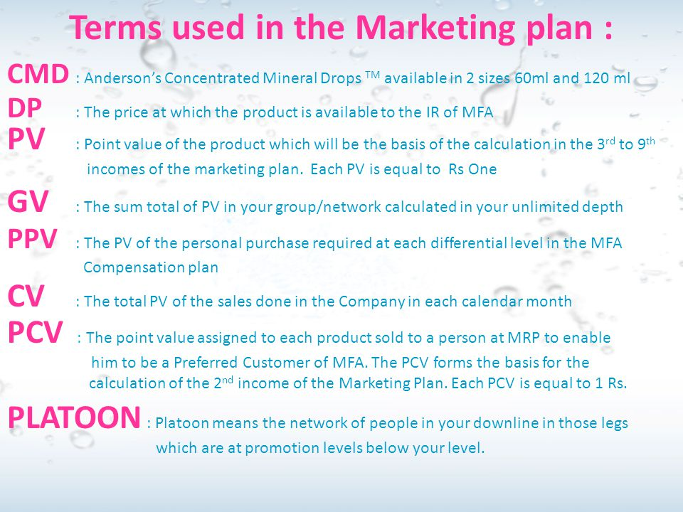 Terms used in the Marketing plan :