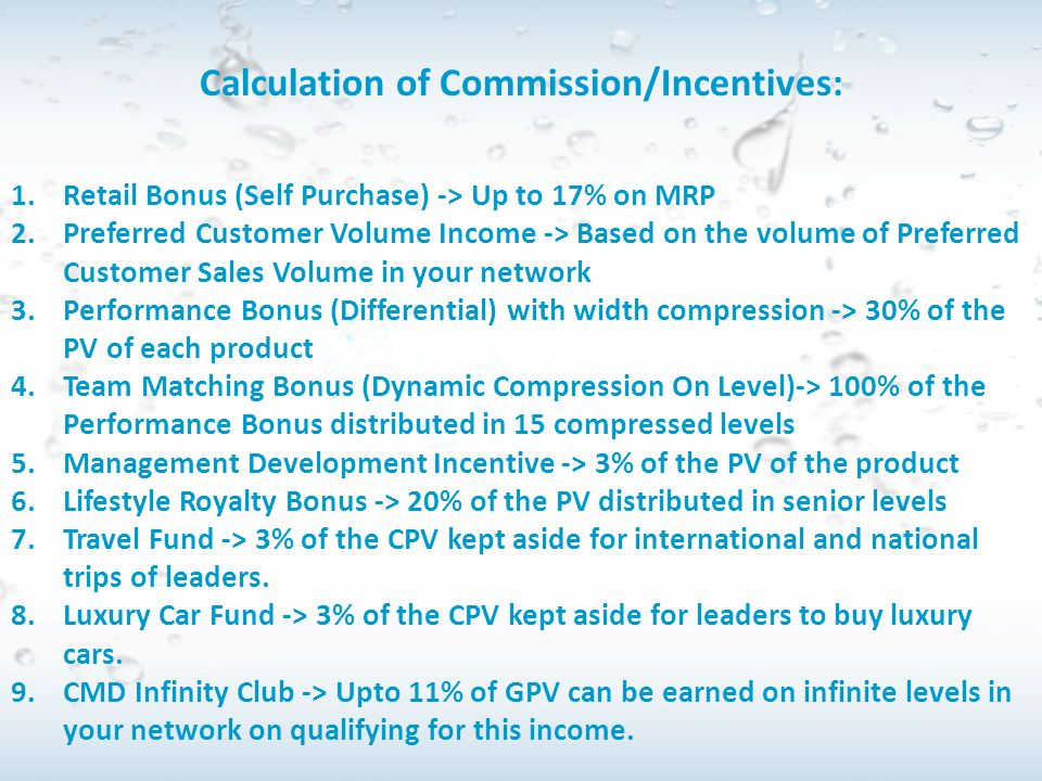 Calculation of Commission/Incentives:
