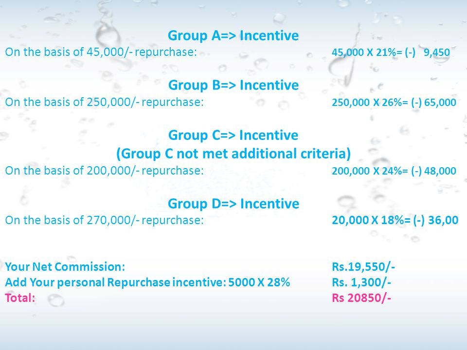 Group C=> Incentive