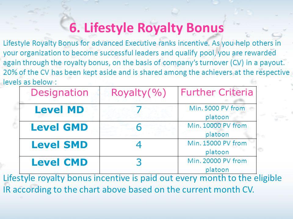 6. Lifestyle Royalty Bonus