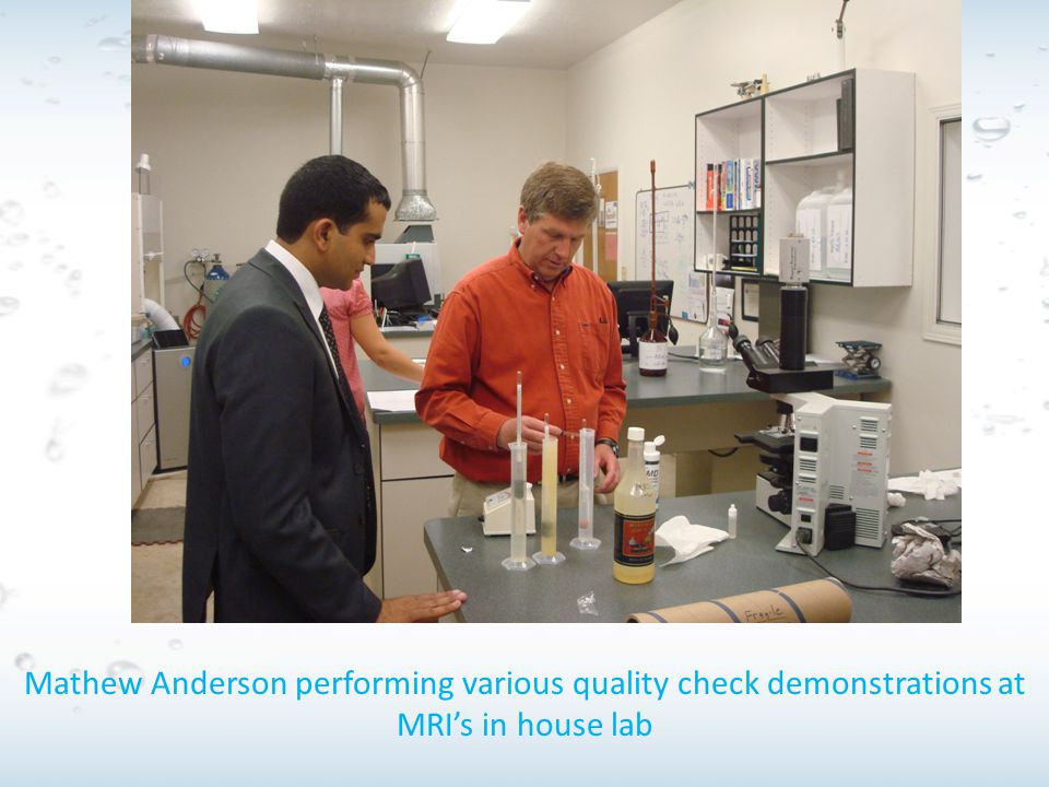 Mathew Anderson performing various quality check demonstrations at MRI's in house lab