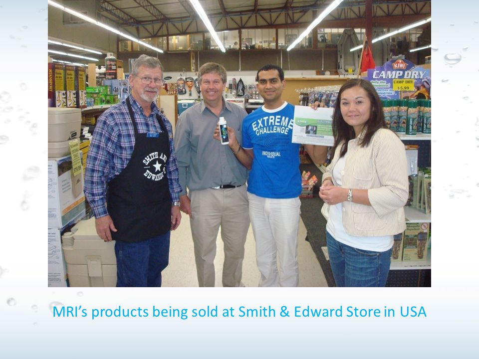 MRI's products being sold at Smith & Edward Store in USA