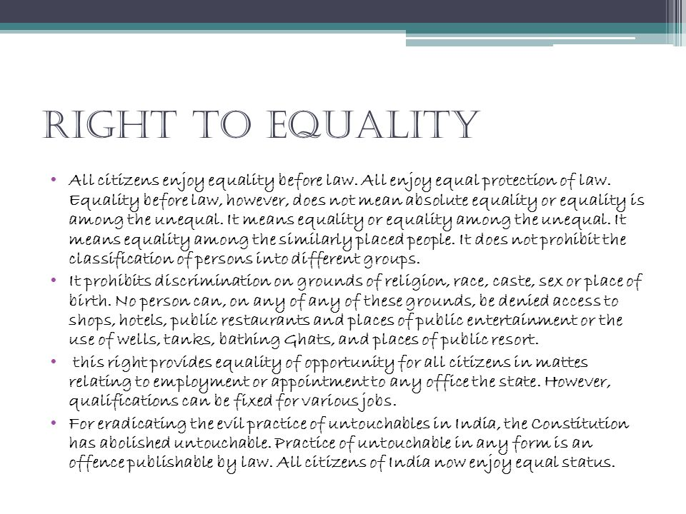 Right To Equality
