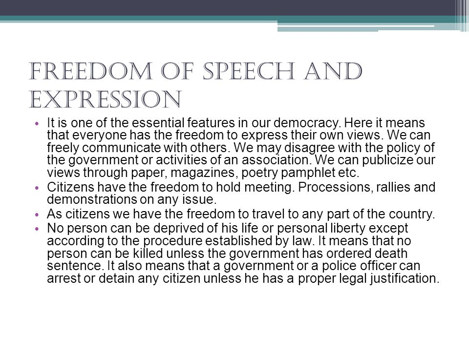 freedom of speech and expression and responsibility Law, autonomy, ethics - freedom of speech and expression title length color rating : freedom of speech and expression and responsibility - freedom of speech and responsibility no matter how fervently someone believes in the justice of his cause, suppression of the free exchange of ideas is failure at best or downright wrong.