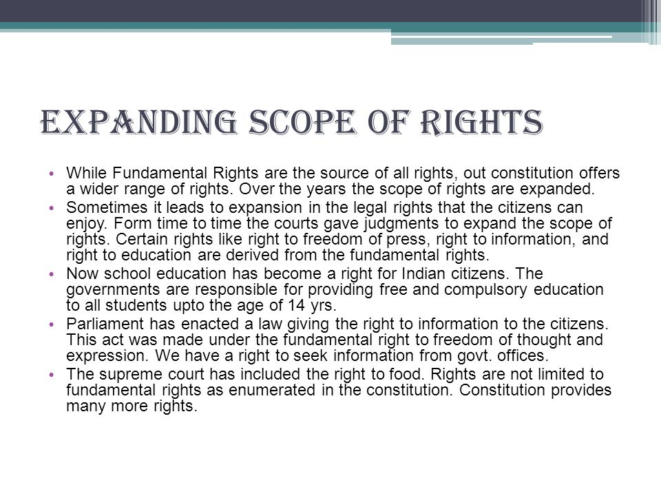 Expanding Scope Of Rights