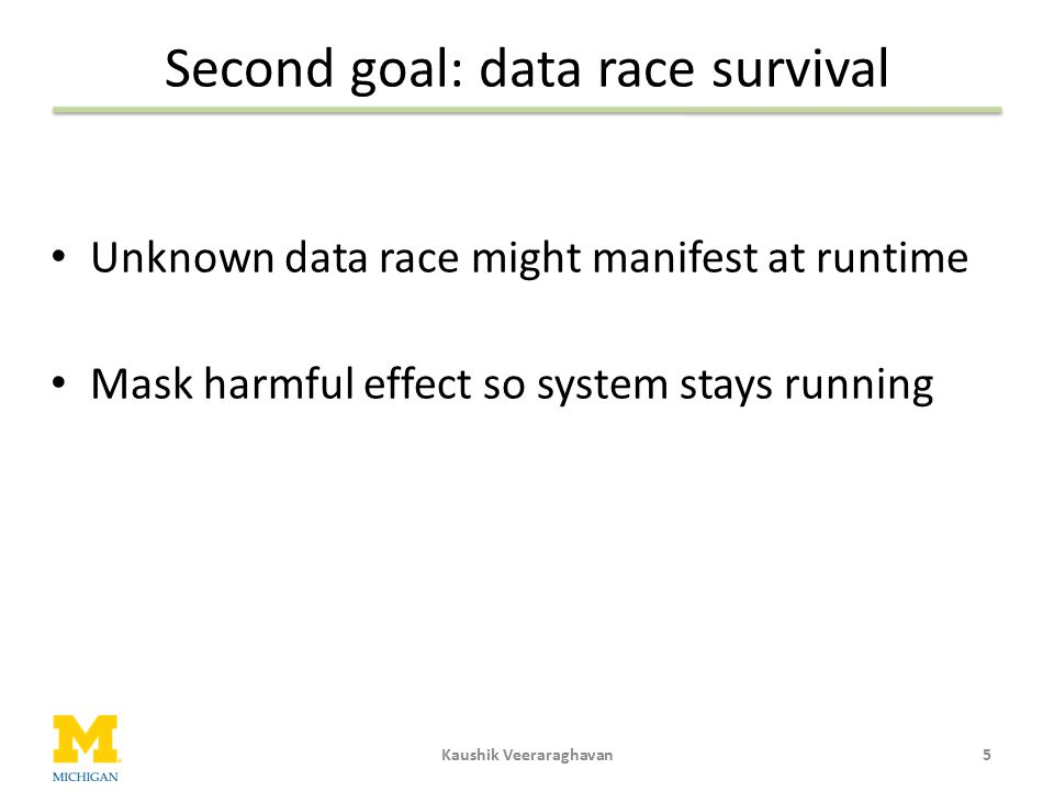Second goal: data race survival
