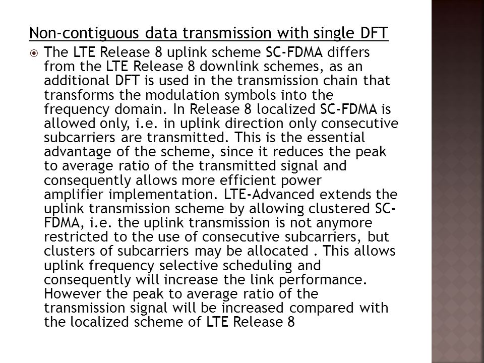 Non-contiguous data transmission with single DFT