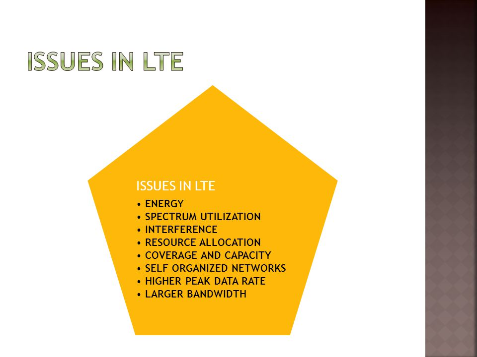 Issues in Lte ISSUES IN LTE ENERGY SPECTRUM UTILIZATION INTERFERENCE