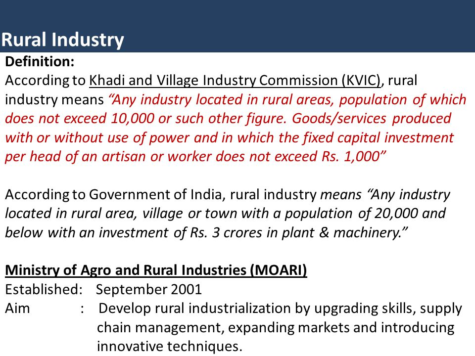 Rural Industry Definition: