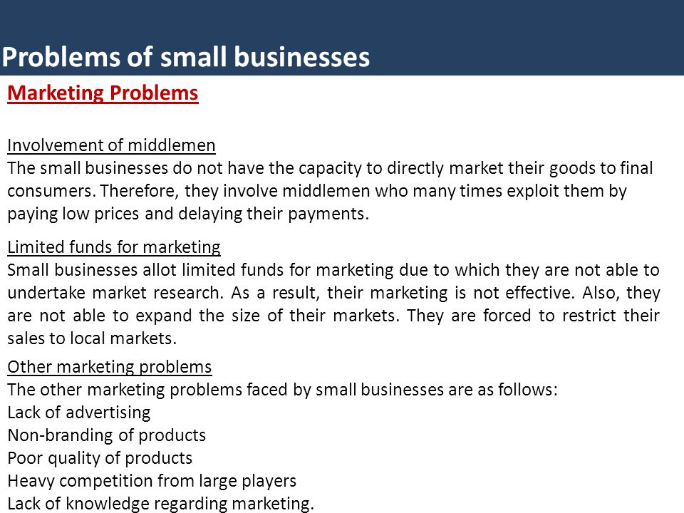 Problems of small businesses