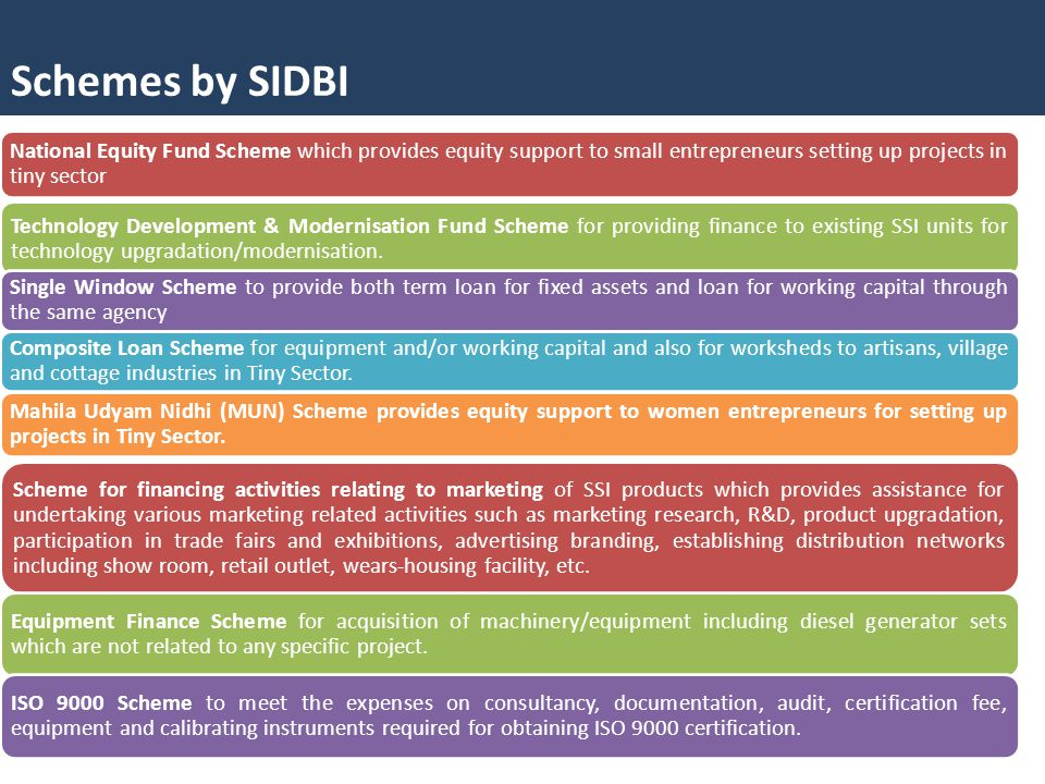 Schemes by SIDBI National Equity Fund Scheme which provides equity support to small entrepreneurs setting up projects in tiny sector.
