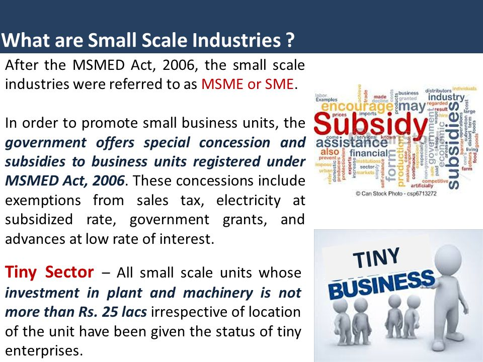 TINY What are Small Scale Industries