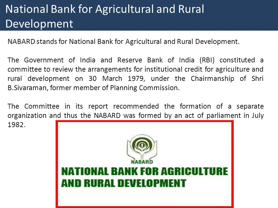 National Bank for Agricultural and Rural Development