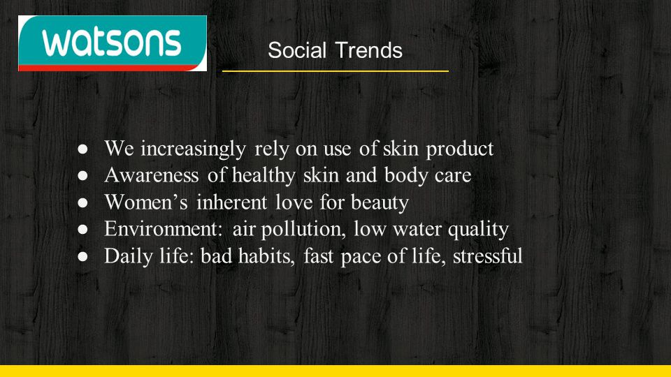 Social Trends We increasingly rely on use of skin product. Awareness of healthy skin and body care.