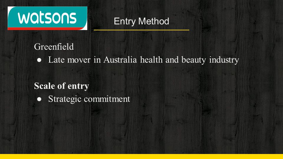 Entry Method Greenfield. Late mover in Australia health and beauty industry.