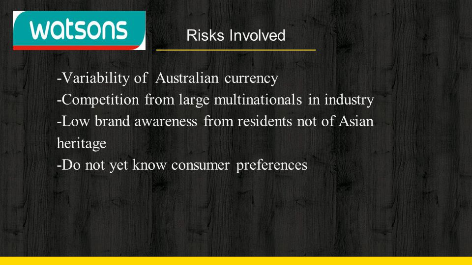 Risks Involved -Variability of Australian currency. -Competition from large multinationals in industry.