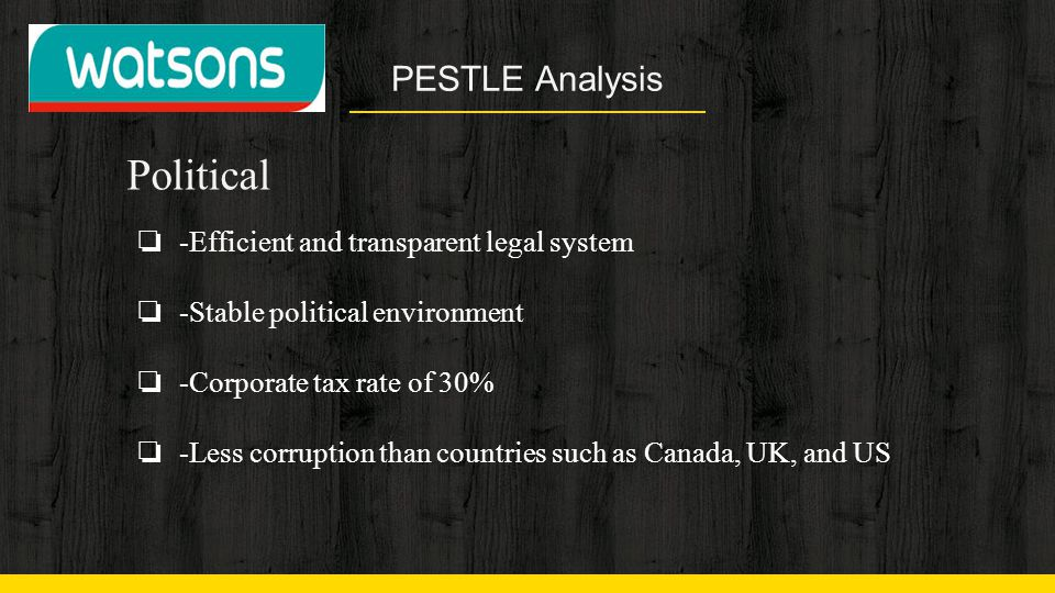 Political PESTLE Analysis -Efficient and transparent legal system