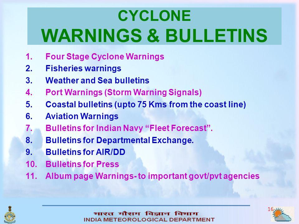 CYCLONE WARNINGS & BULLETINS