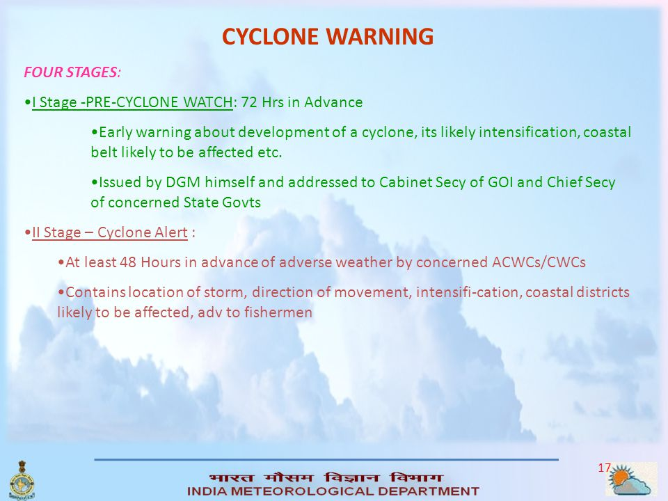 CYCLONE WARNING FOUR STAGES:
