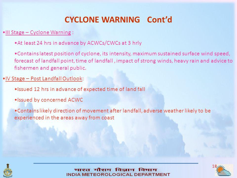 CYCLONE WARNING Cont'd