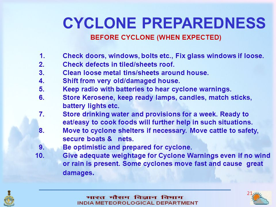 CYCLONE PREPAREDNESS. BEFORE CYCLONE (WHEN EXPECTED) 1