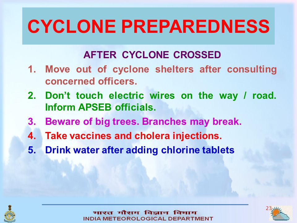 CYCLONE PREPAREDNESS AFTER CYCLONE CROSSED