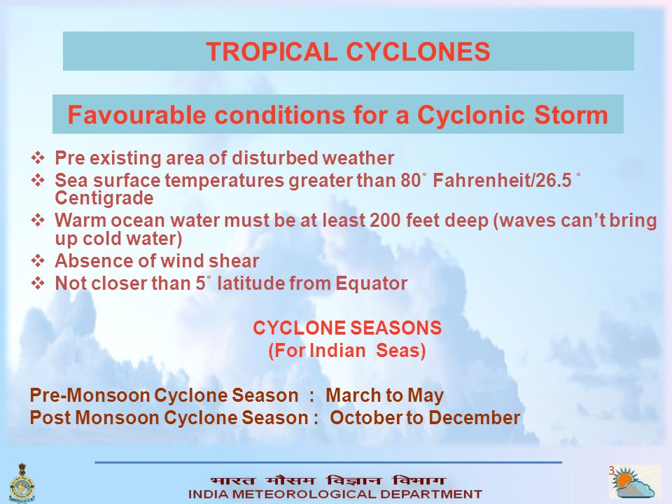 Favourable conditions for a Cyclonic Storm