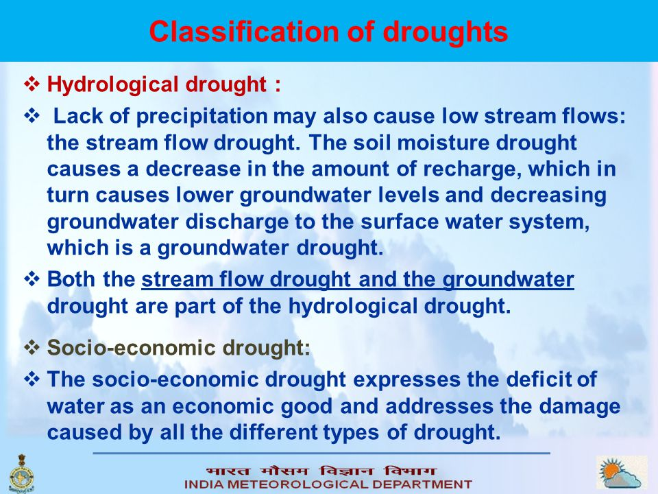 Classification of droughts