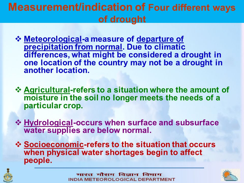 Measurement/indication of Four different ways of drought