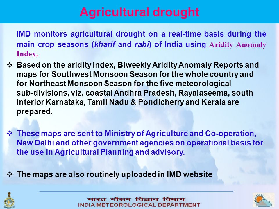 Agricultural drought