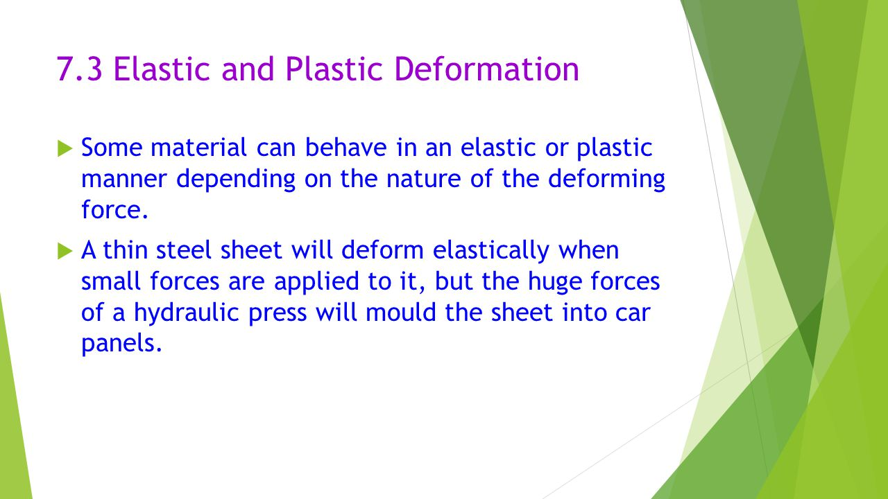 7.3 Elastic and Plastic Deformation