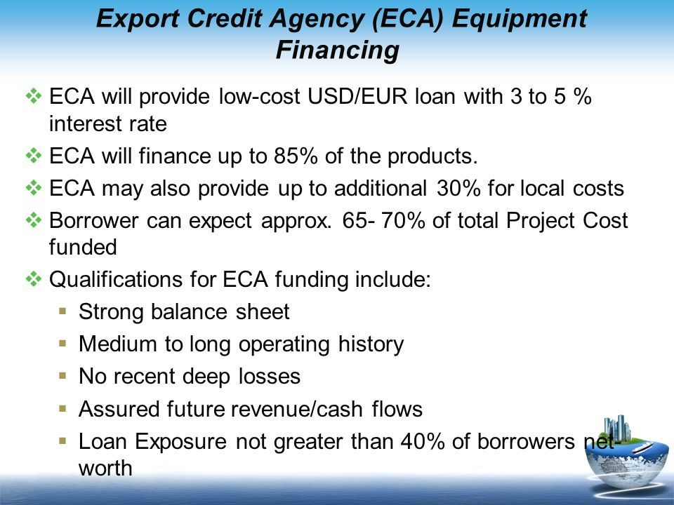 Export Credit Agency (ECA) Equipment Financing
