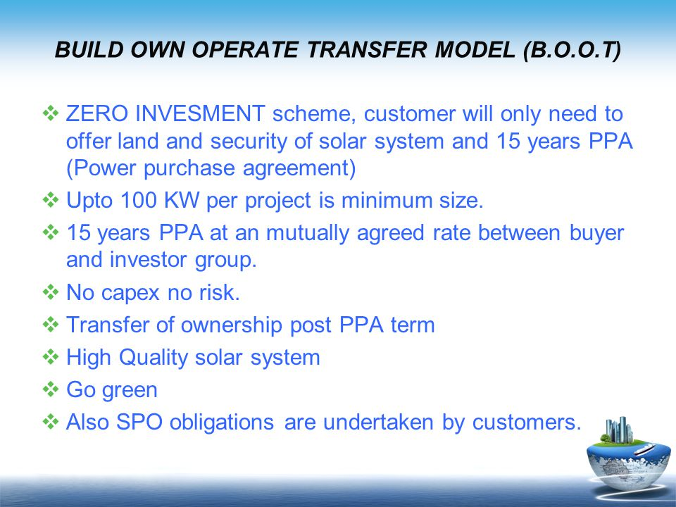 BUILD OWN OPERATE TRANSFER MODEL (B.O.O.T)