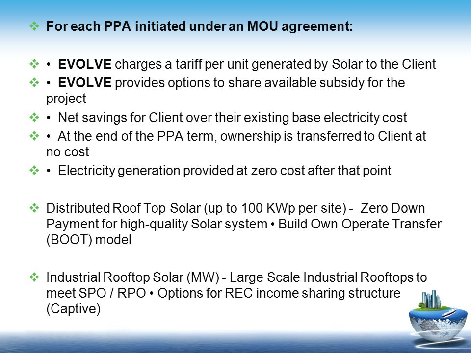 For each PPA initiated under an MOU agreement: