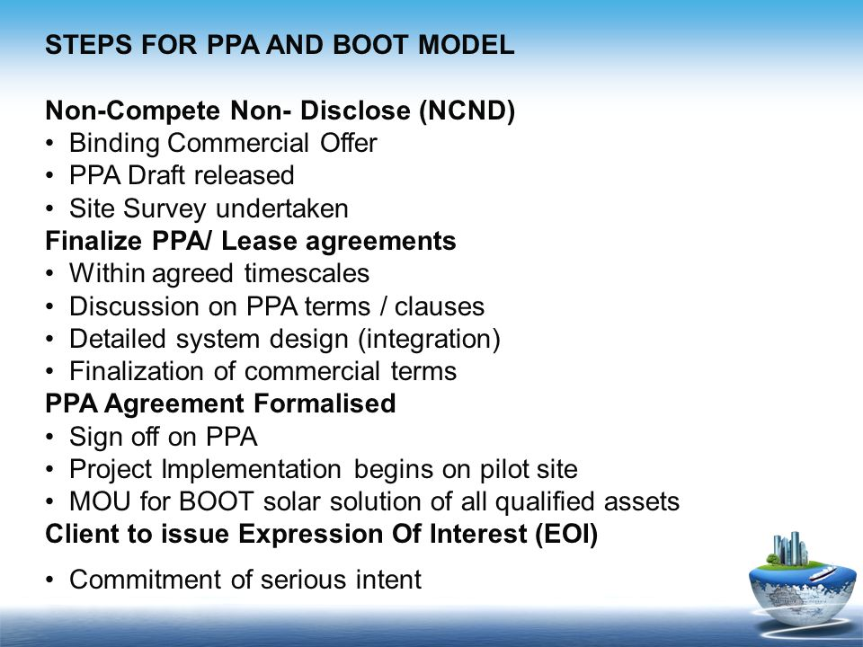 STEPS FOR PPA AND BOOT MODEL