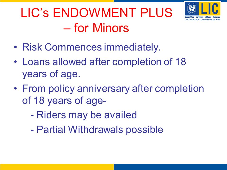LIC's ENDOWMENT PLUS – for Minors