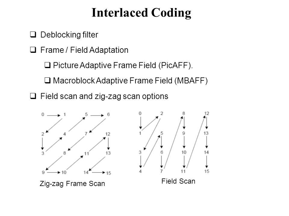 Interlaced Coding Deblocking filter Frame / Field Adaptation
