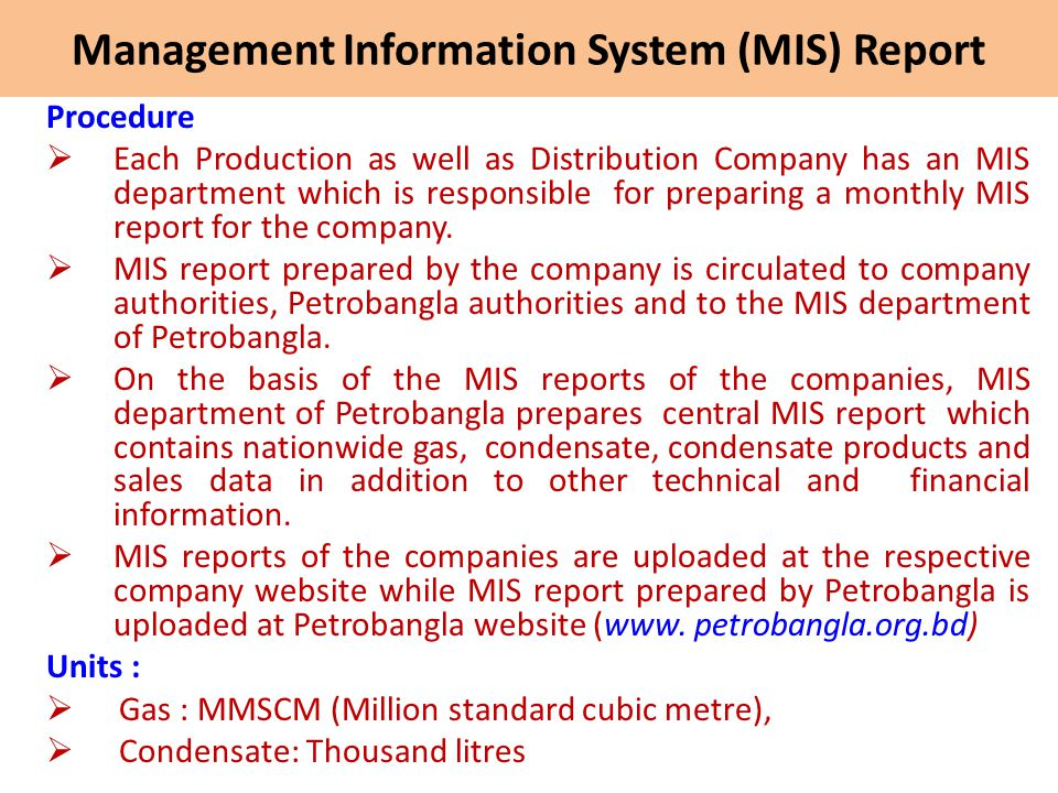Management Information System (MIS) Report