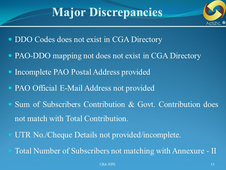 Major Discrepancies DDO Codes does not exist in CGA Directory