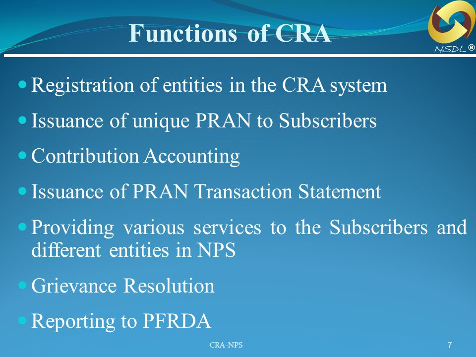 Functions of CRA Registration of entities in the CRA system