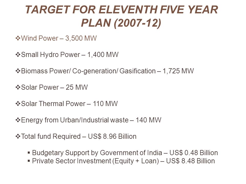 TARGET FOR ELEVENTH FIVE YEAR PLAN (2007-12)