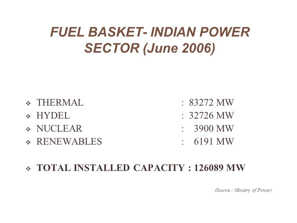FUEL BASKET- INDIAN POWER SECTOR (June 2006)