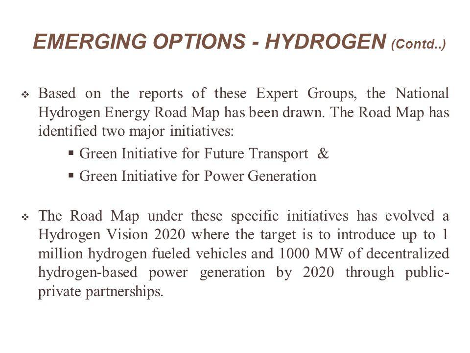 EMERGING OPTIONS - HYDROGEN (Contd..)